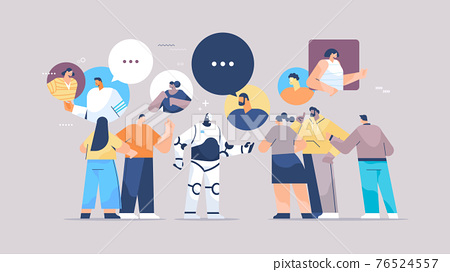 cute robot discussing with mix race people during meeting chat bubble communication artificial intelligence technology 76524557