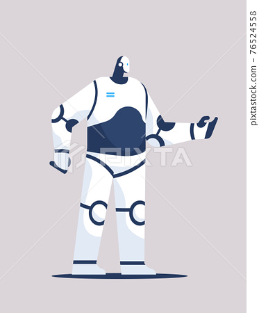 cute robot cyborg modern robotic character standing pose artificial intelligence technology concept 76524558