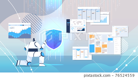 robot holding shield web data security technology protection   artificial intelligence concept 76524559