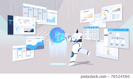 robot holding bitcoin crypto currency digital web money mining passive income earnings  artificial intelligence 76524560