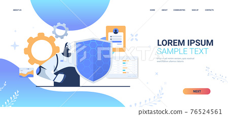robot holding shield web data security protection artificial intelligence technology concept portrait 76524561