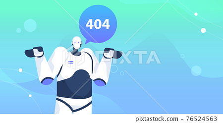 robot with page not found 404 error speech connection problem website under construction artificial intelligence 76524563