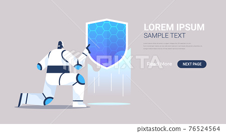 robot holding shield web data security technology protection  artificial intelligence concept 76524564