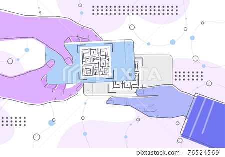 hands scanning QR code on smartphone screens electronic digital technology machine readable barcode verification 76524569