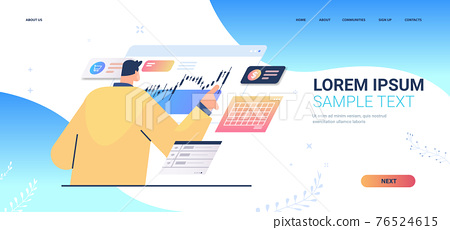 businessman monitoring financial stock market analyzing charts and graphs stock exchange concept portrait 76524615