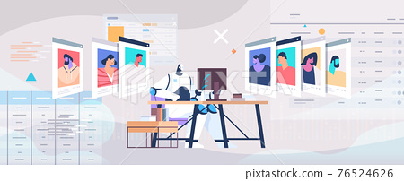 robot hr manager choosing resume curriculum vitae of employees job candidates recruitment hiring ai concept 76524626