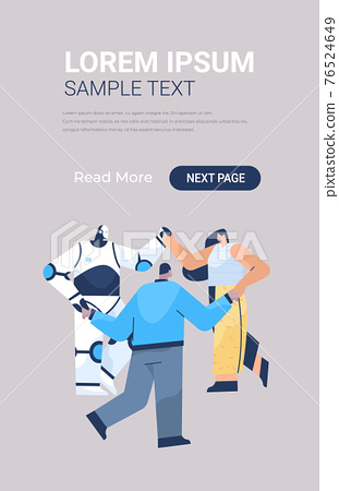 modern robot with businesspeople holding hands standing together in row unity teamwork artificial intelligence 76524649