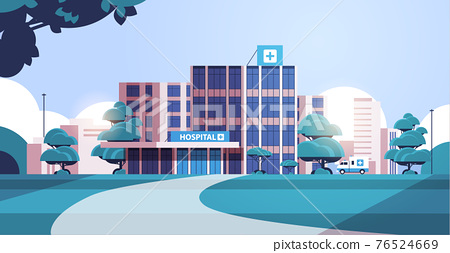 city background with hospital building and ambulance car medical center concept modern clinic exterior 76524669