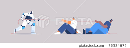 mix race businesspeople pulling rope fighting with modern robot competition conflict tug of war artificial intelligence 76524675