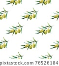 Seamless pattern with olive branches and olives. Watercolor hand drawing 76526184