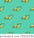 Seamless pattern with olive branches and olives. Watercolor hand drawing 76526186