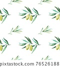 Seamless pattern with olive branches and olives. Watercolor hand drawing 76526188