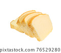 Butter cake, a close up of homemade sliced pound cake bakery isolated on white background. 76529280