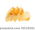 Butter cake, a close up of homemade sliced pound cake bakery isolated on white background. 76529281