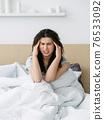morning headache insomnia problem sick woman bed 76533092