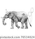 Beautiful stock illustration with cute hand drawn birthday elephant. 76534024