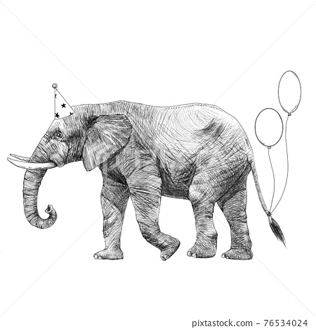 Beautiful stock illustration with cute hand drawn birthday elephant. 76534024