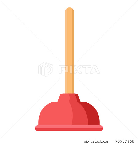 Cartoon vector illustration housework equipment tool toilet dredge 76537359