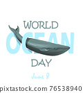 Ill of world oceans day with whale 76538940