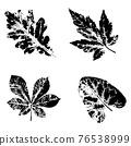 Ink print leaves. Black ink prints of leaves of trees and bushes 76538999
