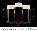 Set of fresh draft beer glasses with bubble froth isolated on black background. 76539572