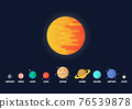Set of star and planets on galaxy background 76539878