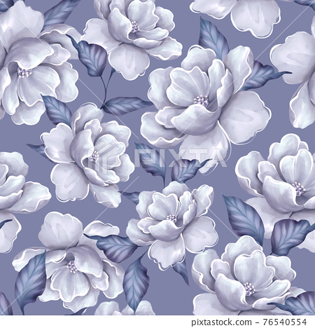 Seamless pattern with flowers and leaves. Blue floral pattern, watercolor style 76540554