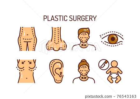 Plastic surgery body and face color line icons set. Anti aging injection, therapy. Isolated vector element. Outline pictograms for web page, mobile app, promo. 76543163