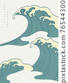 Japanese hand draw wave with line pattern vector. Oriental natural ocean sea background in vintage style. 76544300