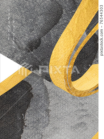 Chinese background with paper roll element vector. Gold and black texture with Japanese wave pattern banner in vintage style. 76544303