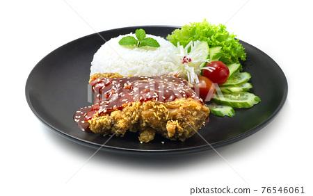 Crispy Chicken Korean Sauce with Rice 76546061