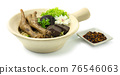 Clay Pot Egg Noodles with Braised Feet Chicken decorate Mushroom 76546063