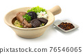 Clay Pot Egg Noodles with Braised Drumstick Chicken decorate Mushroom 76546065