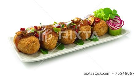Canned Fish Mackerel Deep Fried Spicy Salad Thai Food 76546067