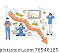 Cartoon Color Characters People and Economic Decline Crisis Concept. Vector 76546125