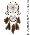 Realistic Detailed 3d Brown Dreamcatcher with Feathers. Vector 76546126