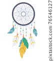 Cartoon Color Dreamcatcher with Different Feathers. Vector 76546127