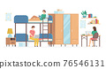 Cartoon Color Characters People and College Dormitory Interior Inside Concept. Vector 76546131