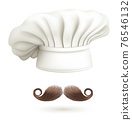 Realistic Detailed 3d Chef Hat and Moustache Set. Vector 76546132