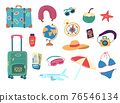 Cartoon Color Travel Stuff Icon Set. Vector 76546134