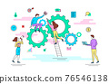 Characters People and Cogwheel Business Concept Contour Linear Style. Vector 76546138