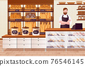 Cartoon Color Character People Man and Bakery Interior Concept. Vector 76546145