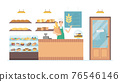 Cartoon Color Character People Man and Bakery Interior Concept. Vector 76546146