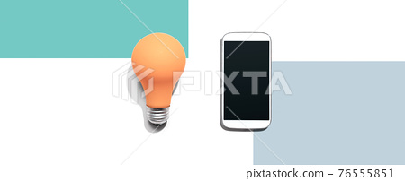 Smartphone with a yellow light bulb 76555851