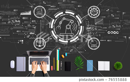 Smart industry concept with person using a laptop 76555888