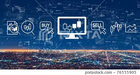 Stock trading theme with downtown Los Angeles 76555905