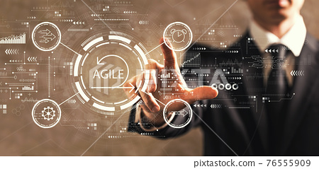 Agile concept with businessman 76555909