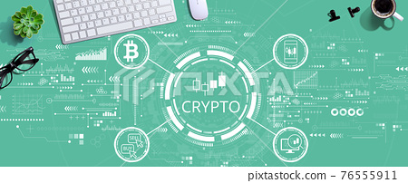 Crypto Trading theme with a computer keyboard 76555911