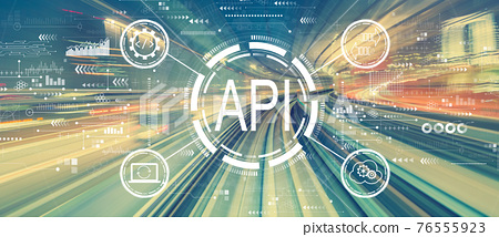 API - application programming interface concept with high speed motion blur 76555923