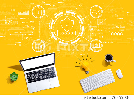 Cyber security theme with computers with a light bulb 76555930